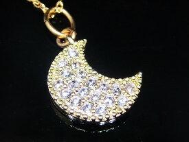 ムーン ネックレス CZ ダイヤモンド ネックレス ゴールド ネックレス ジルコニア アクセサリー 月 ネックレス レディース ネックレス ジュエリー キュービックジルコニア デザインネックレス 【ダイヤモンドに匹敵する輝きがここに】