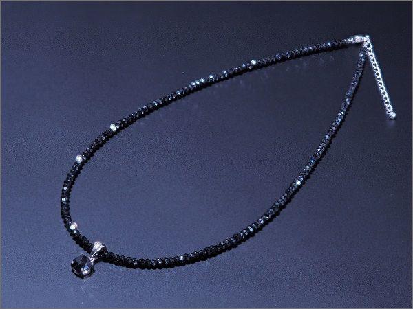 2WAY ブラックダイヤモンド ネックレス メンズ ネックレス ブラックスピネル チェーン SV925チェーン 大粒 アクセサリー プレゼント アジャスター付き 【長さ調節可能】 ※チェーン2種類付属 ss
