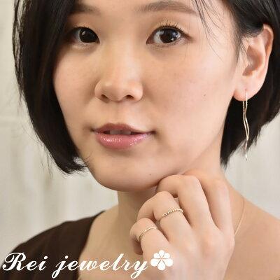K10ピンキーリング指輪レディース2連華奢日本製ゴールド大人可愛いプレゼント