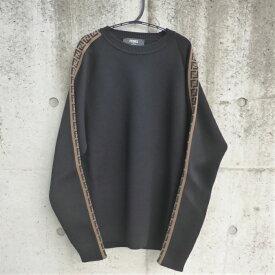 フェンディ (FENDI) FF ロゴ ストライプ ウール ニット セーター ブラック FAE533 #50【新品】