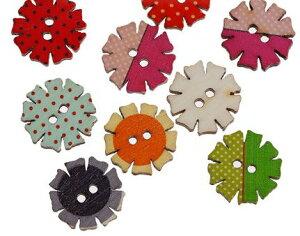 ●少量取寄品●【クラフトボタン】プリントボタン(ミックス50個) 木製ボタン/20mm