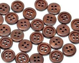 【木製ボタン】20個木のボタン(ダークブラウン)ウッドボタンセット手芸 スクラップブッキングやプレゼントラッピング・デコレーションにもアレンジ♪/15mmサイズ20個パック