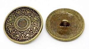 メタルボタン単品1個アンティークブロンズカラー金属ボタンおしゃれボタンアイアンボタンソーイングボタンクラフトボタンジャケットボタン手芸クラフトアクセサリー製作に25mm