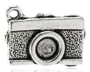 """取寄せ【メタルチャーム】""""Camera""""アンティークシルバーカラー◆業務パック◆アクセサリーチャームペンダントヘッドペンダントトップ500個入/17mm×13mm"""