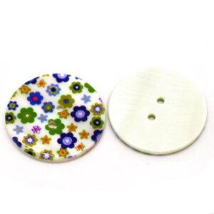 2個入【ボタン】シェルボタン♪(フラワー)貝ボタン天然ボタン(2個入)/30mm