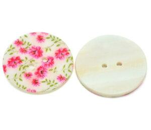 1個入【ボタン】シェルボタン(ピンクフラワー)貝ボタン天然ボタン(1個入)/30mm
