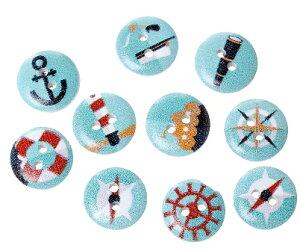 海マリンデザイン100個ウッドボタン木のボタン(マリンプリント)15mm/ミックスアソート