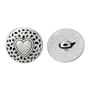 ●取寄品●メタルボタン200個ハート型(アンティークシルバーカラー)[18mm]/アクセサリーのパーツとしても使える素敵なデザインの金属製ボタンです♪その他手芸用品がいろいろ揃う!