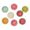 木製ボタン200個(ナチュラル地+カラフルデザイン)ミックスカラーセット/クラフト材料手芸用品プリントボタン木のボタン(200個入)15mm