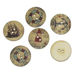 木製ボタン10個(ナチュラル地+セーラー航海デザイン)アンティーク風のかすれたプリント ミックスカラーセット/クラフト材料手芸用品プリントボタン木のボタン(10個入)20mm