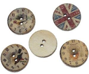 クラフトボタン100個ミックスパック イギリス&小鳥プリントウッドボタン(アンティーク風のかすれたプリント) ミックスデザイン木製ボタン/(20mm)