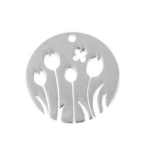 ●取寄品● 【メタルチャーム】3個(304ステンレス) 透かしチューリップ形/ペンダントトップ/アクセサリーパーツ/25mm