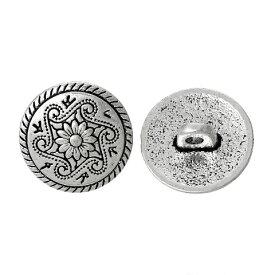【メタルボタン】1個(アンティークシルバーカラー)アクセサリーパーツにも使える素敵なアンティークデザインボタン 金属製ボタン/15mm
