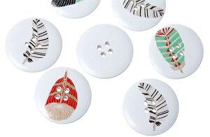 クラフトボタン[羽根]プリントボタン(おまかせミックス3個) 木製ボタン/30mm