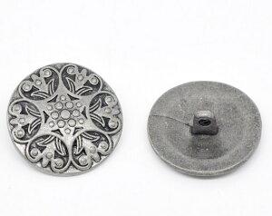 メタルボタン 1個アンティーク風のデザインボタン アクセサリーパーツにも使える金属製ボタン/25mm