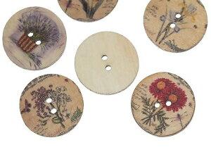 ●取寄品●【クラフトボタン】[フラワー柄]プリントボタン(ミックス100個) 木製ボタン木のボタン/25mm