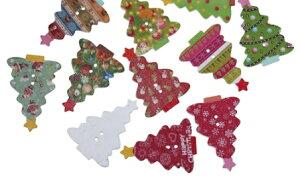 ●少量取寄品●【クラフトボタン】[クリスマスツリー型]プリントボタン(ミックス50個) 木製ボタン木のボタン/35mm×25mm