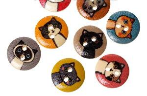 クラフトボタン猫型プリントボタン(ミックス100個) 木製ボタン木のボタン/15mm