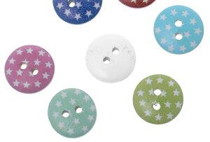 ●少量取寄品●【クラフトボタン】[スター型]プリントボタン(ミックス200個) 木製ボタン木のボタン ラッピングやスクラップブッキングの材料にも/15mm