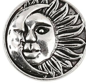 メタルチャーム 1個 [太陽と月型]/アクセサリーチャームアクセサリーパーツ/ピアスイヤリングネックレスなどに/29mm×25mm