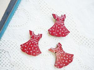 フランスボタン(ハートのドレス)1個 レトロフレンチデザインボタン 木製ボタンフランス製フレンチボタン/ボタンの大きさ2.9cm×2.7cm