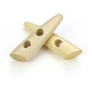 トグルボタン 2個 ウッドボタン木製ボタン 巾着袋口留めループエンド手芸コートボタン/30mm