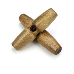 トグルボタン 20個 ウッドボタン木製ボタン 巾着袋口留めループエンド手芸コートボタン/35mm