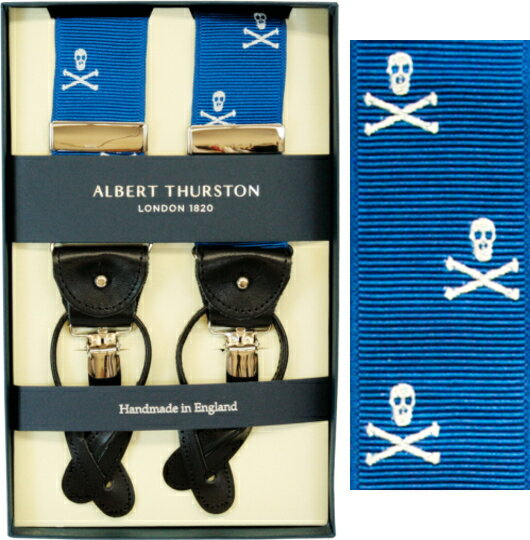 ALBERT THURSTON アルバートサーストン サスペンダーY型☆リボン(伸縮性なし)☆スカル柄【英国製】1143-5【送料無料】【楽ギフ_包装】