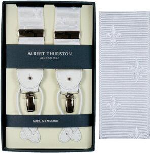 ALBERT THURSTON アルバートサーストン サスペンダー メンズ Y型 2WAY リボン(伸縮性なし) 白 クレスト柄 ホワイト 【英国製】 サーストン ブランド アルバート・サーストン ブレイシーズ 1267-WHI