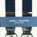 ALBERT THURSTON アルバートサーストン サスペンダー メンズ Y型 2WAY 濃紺 ピンドット柄 【英国製】 サーストン ブラ…