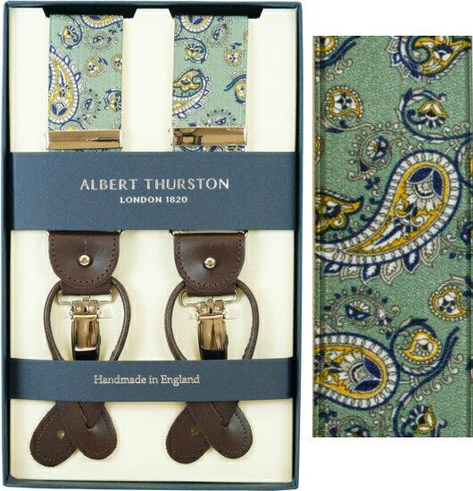ALBERT THURSTON アルバートサーストン サスペンダー メンズ Y型 2WAY グリーン ペイズリープリント柄【英国製】 サーストン ブランド アルバート・サーストン 2571-2 【送料無料】【楽ギフ_包装】