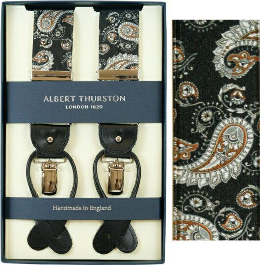 ALBERT THURSTON アルバートサーストン サスペンダー メンズ Y型 2WAY ブラック ペイズリープリント柄【英国製】 サーストン ブランド アルバート・サーストン 2571-5 【送料無料】【楽ギフ_包装】