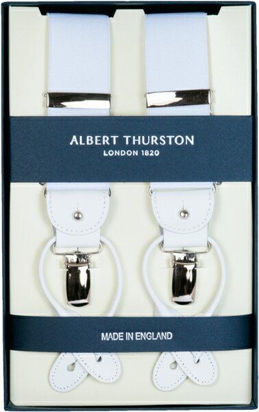 ALBERT THURSTON アルバートサーストン サスペンダー メンズ Y型 2WAY 白 ホワイト 無地 プレーン 英国製 サーストン ブランド アルバート・サーストン ブレイシーズ 紳士 男 男性用 r-white 送料無料【楽ギフ_包装】