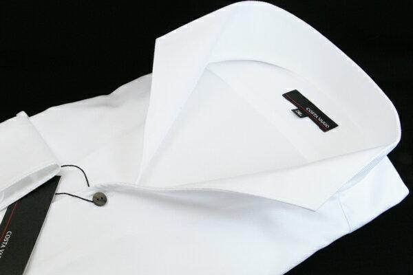 イタリアンカラーシャツ メンズ   スタンドカラー シャツ COSTA VARIO 長袖 白 ホワイト カルゼ 織柄 日本製 大きいサイズ ワイシャツ ビジネス 襟 イタリアンカラー ドレスシャツ ノータイ ノーネクタイ おしゃれ 色 柄 コーデ おすすめ 通販 3L 4L 5L 送料無料 GTD033-003