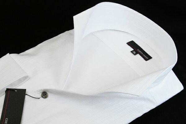 イタリアンカラーシャツ メンズ   スタンドカラーシャツ COSTA VARIO 長袖 白 ストライプ 日本製 大きいサイズ ワイシャツ ビジネス 襟 イタリアンカラー スタンドカラー シャツ ドレスシャツ おしゃれ 色 柄 着こなし コーデ おすすめ 通販 3L 4L 5L 送料無料 GTD033-004
