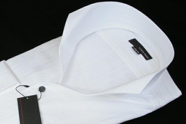 イタリアンスタンドカラーシャツ メンズ COSTA VARIO 白 ストライプ ラメ 長袖 日本製 イタリアンカラーシャツ イタリアンカラー スタンドカラー シャツ ワイシャツ ビジネスシャツ 紳士 男 男性用 UWD001-200