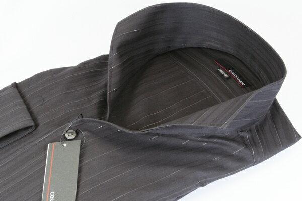 イタリアンスタンドカラーシャツ イタリアンカラーシャツ メンズ COSTA VARIO 黒 ブラック ストライプ ラメ 長袖 日本製 スタンドカラー イタリアンカラー シャツ ワイシャツ ビジネスシャツ UWD001-285