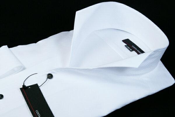 イタリアンカラーシャツ メンズ   スタンドカラーシャツ COSTA VARIO 長袖 白 綿100% カルゼ 織柄 日本製 ワイシャツ ビジネス 襟 イタリアンカラー スタンドカラー シャツ ドレスシャツ おしゃれ 色 柄 着こなし コーデ おすすめ 通販 M L LL 送料無料 uwd004-200