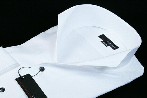 イタリアンカラーシャツ メンズ   スタンドカラー シャツ COSTA VARIO 長袖 白 ホワイト 綿100 ミニブロック 織柄 日本製 ワイシャツ ビジネス 襟 イタリアンカラー ドレスシャツ ノータイ ノーネクタイ おしゃれ 色 柄 着こなし コーデ おすすめ 通販 送料無料 uwd004-201