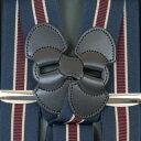 Taniwatari タニワタリブランドのホルスター型サスペンダー35mm紺×エンジ/ベージュストライプ織り柄(サイド吊型)は日本製で高品質な仕上がりです【送料...