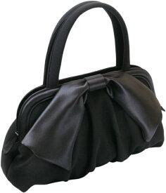 dbe27f2b21b3 フォーマルバッグ 黒 ソフトバッグ 大きなサテンリボン付き しっかりした作りの日本製 長く