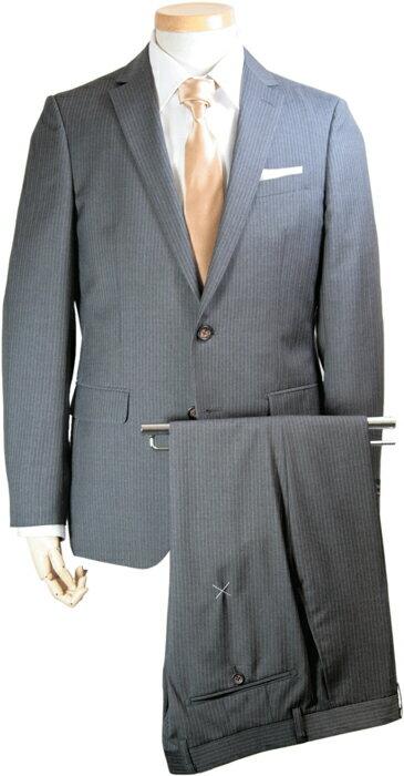 スーツ | メンズ ビジネススーツ メンズスーツ イタリア製生地 アンジェリコ ANGELICO スタイリッシュ スリム フィット ショート丈 シングル 2ボタン ノータック ストライプ グレー 春 春夏 紳士 男性 20代 30代 着こなし コーデ おしゃれ おすすめ 送料無料 151281-PS