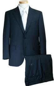 スーツ   メンズ ビジネススーツ メンズスーツ スタンダード レギュラー シングル 2ボタン ワンタック ストライプ 濃紺 秋冬 春 紳士 男性 40代 50代 ベーシック 着こなし コーデ おしゃれ おすすめ 送料無料 A18530