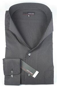 【送料無料】【大きいサイズ】イタリアンスタンドカラーシャツ☆COSTAVARIO☆黒ストライプ☆ラメ入り☆GTD033-001スタンドカラーシャツ