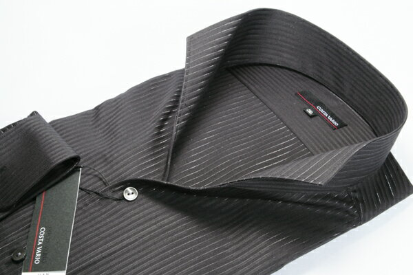 イタリアンカラーシャツ メンズ   スタンドカラー シャツ COSTA VARIO 長袖 黒 ブラック ストライプ 日本製 大きいサイズ ワイシャツ ビジネス 襟 イタリアンカラー ドレスシャツ ノータイ ノーネクタイ おしゃれ 色 柄 コーデ 通販 LL 2L 3L 4L 送料無料 GTD033-001