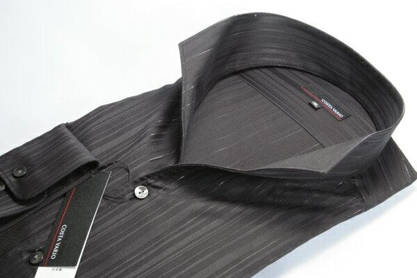 イタリアンカラーシャツ メンズ   スタンドカラーシャツ COSTA VARIO 長袖 黒 ストライプ ラメ 日本製 大きいサイズ ワイシャツ ビジネス 襟 イタリアンカラー スタンドカラー シャツ ドレスシャツ おしゃれ 色 柄 着こなし コーデ 通販 LL 2L 3L 4L 5L 送料無料 GTD033-002