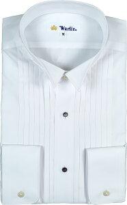 【黒蝶貝スタッドボタン付き】 日本製 プリーツ ピンタック ウィングカラーシャツ 白 タキシード シャツ ウイングシャツ スタッズ フォーマル メンズ 男性用 結婚式 二次会 パーティ 衣装 n8