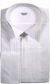 【期間限定プレゼント付き】【黒カフスボタン付き】綿100% ウイングカラーシャツ タキシードシャツ☆フライフロント(比翼仕立て) ダブルカフス☆ピンタックTOL911-CAF002 フォーマル FORMAL メンズ Men's 男性用