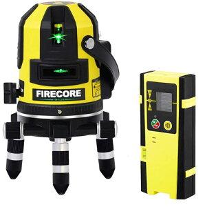 Firecore 5ライン グリーンレーザー墨出し器 レーザーレベル 高輝度 高精度 大矩 受光器対応 回転レーザー線 メーカー1年保証 最先端技術を駆使した墨だし器 受光器セット