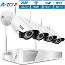 防犯カメラ A-ZONE 200万画素Wi-Fiカメラ×4台 Wi-Fi録画チューナー(HDD 1000GB内蔵)セット ビデオ監視システム…